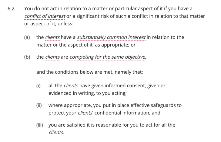 SRA conflicts of interests exceptions 6.2